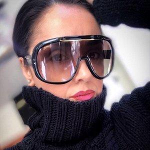 2019 futuristas de grandes dimensões peça um óculos de sol mulheres topo plano gradiente de sol óculos homens shades goggle feminino