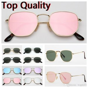 sunglasses hexagonal flat glass lenses design for men women male female sunglasses with brown or black case, cloth, paper box, accessories