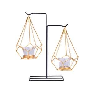 1pcs colgante geométrico del metal del oro de vela de Tealight Holder Con Hierro Negro Soporte Airplant sostenedor de la exhibición decoración moderna