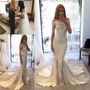 Sexy Steven Khalil Collection 2018 Wedding Dresses Cheap Off Shoulder Mermaid Sleeves Berta pallas couture Bridal Gowns