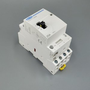 Дешевые контакторы TOCT1 4P 25A 220V / 230V 50/60 Гц Din-рейка бытовой ac модульный контактор с ручным переключателем управления 4NO или 2NO 2NC или 4NC