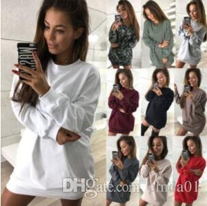 Women Long Length Sweatshirts Casual Solid Color Pullover Long Sleeve Dress Spring Autumn Female Loose Fit Tops Women Dress