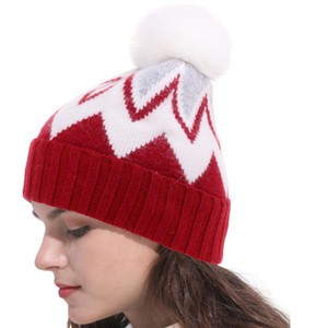 Fashion-Female Beanies Ball Cap Pom Poms Winter Hat for Women Girl 's Wool Hat Knitted Beanies Cap Brand New Thick Female Cap