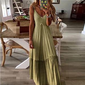 Loose Fit mit V-Ausschnitt Gradient Farbe gegurtete Kleid 2020 Frühlings-Sommer-neue Art Europa und Amerika Womens Designer-Kleid