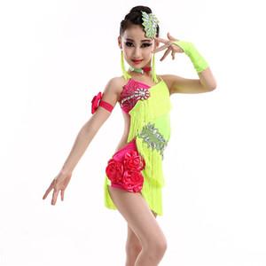 Дети латинского танца костюм девушка Fringe платье Профессионального Latin Dance Competition платье Performance Outfit DQL707
