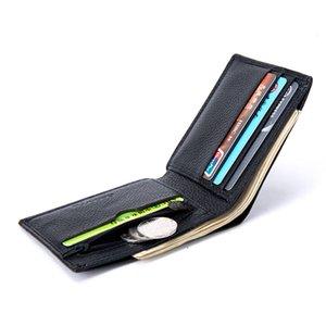2020 Mens Wallet Leather Genuine Bifold Slim Credit Card Holder Wallets Lichee Pattern Solid Color Coin Purse Zipper Pocket