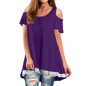 JAYCOSIN Kadınlar Yaz T Shirt 2019 Rahat T-shirt Seksi Kapalı Omuz Tops Batwing Kısa Kollu Lace up Katı O-Boyun Lady Gevşek