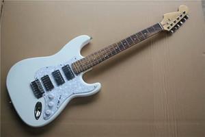 Heißer Verkauf Palisandergriffbrett weiße E-Gitarren mit White Pearl Schlagbrett, Reverse-Kopfplatte, Chrome Hardware, 3 Pickups, können individuell angepasst werden
