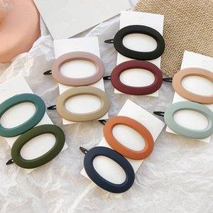 Corea moda color sólido matorrales de resina pinzas para el cabello geométricas hollow oval forma de onda horquillas accesorios para el cabello para las mujeres