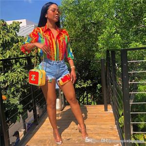 أنثى الرقمية مطبوعة بلوزة عادية قمصان أنثى التلبيب الرقبة القمصان مصمم الأزياء مع زر