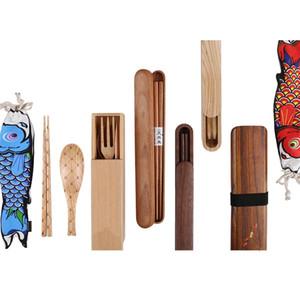 Japonés de madera Set de cubiertos de madera sana de vajilla regalo portátil de viaje de madera Conjuntos palillos cuchara Tenedor caja de cubiertos