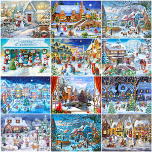 Unframe Diy Oil Painting By Numbers Winrer Landscape Home Decor Acrylic Paint Drawing By Numbers Snow Christmas Gift Diy Picture