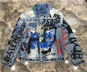 2020 Новый Вышитые Джинсовая куртка Тонкий Printed Luxury Демин куртка ветровка Mens конструктора куртки Streetwear Кардиган Размер M-4XL