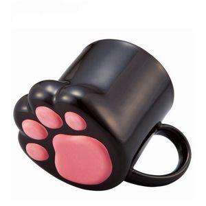 Presente das patas do gato bonito criativa Caneca Personalidade Cerâmica Leite caneca do escritório 3D Caneca Pequeno-almoço canecas Cup for Kids
