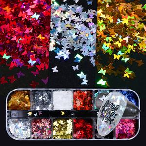 12 grilles / boîte de papillon forme en vrac Paillettes pour Nail Art PET Holographic Sequin mariage Artisanat Décoration Confetti