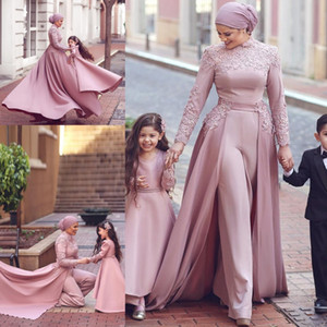 Лавандовый комбинезон с высокой шеей Вечерние платья Кружевные аппликации Мусульманский арабский Дубай Вечернее платье с отстегивающимся шлейфом