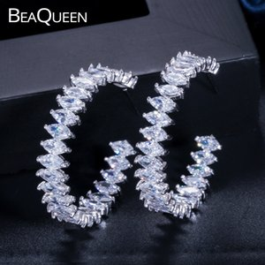 BeaQueen Newest Designable Marquise Cubic Zirconia Crystal Big Circle Round Hoop Earrings Fashion Jewelry for Women E144
