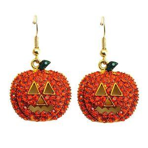 Neue Gold Voller Kristall Strass Kürbis Tropfen Baumeln Ohrringe Halloween Weihnachten Ohrringe Nette Pflanze Schmuck Großhandel Geschenk Zubehör