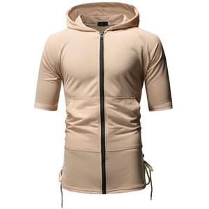 Coulissé manches courtes pour hommes Designer Hauts Teenager Mode T-shirts des hommes de couleur unie avec capuche T-shirt Zipper