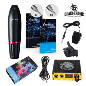Complete Tattoo Kit Rotary Motor Machine Dragonhawk Mast Tattoo Pen Set Mini LCD Power Supply Tattoo Set D3042-1