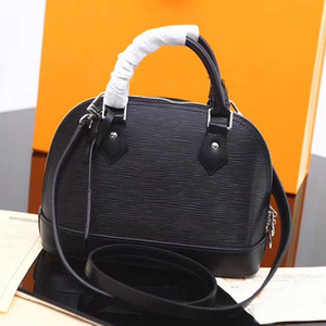 New 2019 Designer women handbags High quality genuine leather bags 5 color water ripple Shoulder Bag ALMA PM small patent hand shell bag
