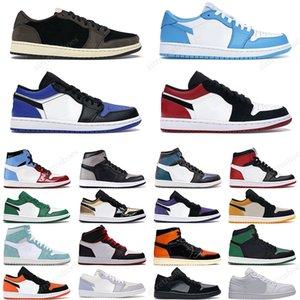 Nike Air Jordan 1 Travis Scott Hombre Mujer Zapatillas de baloncesto Low Cut 1s Obsidian UNC Rosa Verde Corte Púrpura Zapatillas de diseñador para hombre 36-47