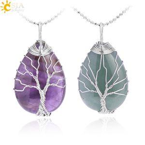 Piedras preciosas naturales de cristal Collares pendientes para mujeres de los hombres de cuarzo rosa Tiger Eye Opal Árbol de la Vida colgantes con cadenas de plata de oro