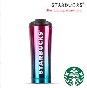 2019 Starbucks katlama saman kap yüksek dereceli 304 çift-katmanlı bir elektrik paslanmaz çelik Starbucks kap gradyan süt fincan kupa