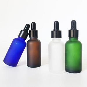 DHgate 30ml 1 Unze matt / bereift clear amber, grün, blau Bart Öl Haaröl Glasflasche mit Tropfdeckel, runder Boston ätherisches Öl Flasche