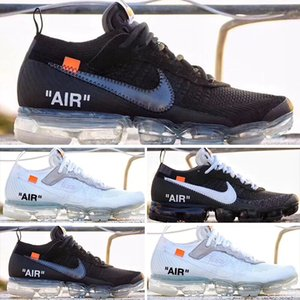 OFF-WHITE X Nike Air Vapormax Flyknit 2.0 2018 Vente Vapeurs II Knit FK 2.0 Chaussures Hommes Off Ouest VPM Loisir Chaussures Noir Blanc Casual Taille Sneakers Respirant 36-46 S520