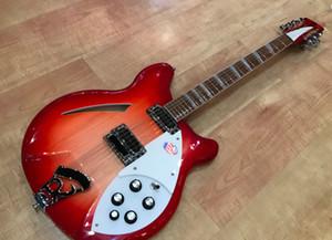 Deluxe feu Glo RIC Cerise Sunburst 360 12 cordes Guitare électrique Semi Hollow Body, Vernis Brillant Fingerboard, deux prises de sortie, 5 boutons