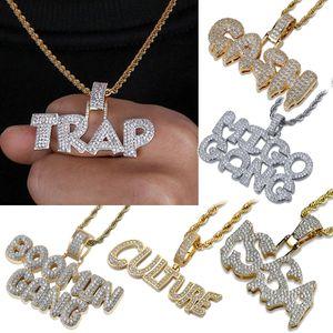 18K oro bianco CZ zirconi Lettera Bubblue personalizzato collana della catena GANG TRAP ISSA Hip Hop Rapper regali gioielli per gli uomini donne