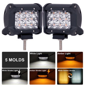 4INCH LED ضوء العمل تحذير STROBE FLAMING LAMP 12V 24V سيارة SUV TRUCK TRAILER MOTORCYCLE BOAT 6000K 4000K DUAL COLOR