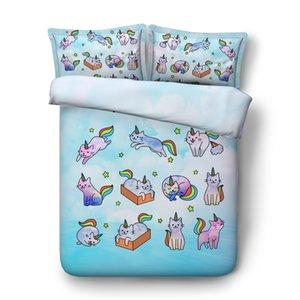 3 Define Pieces Meninas Meninos Estrela Duvet Set Twin Cat roupa de cama com 2 Queen Tampa Pillowshams Galaxy Duvet Criança Bedding Sets 225x260CM