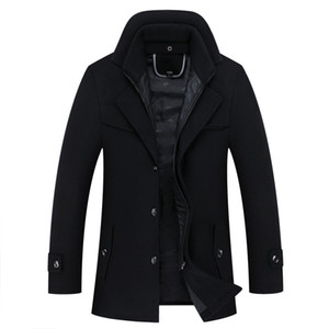 Thicken Woolen Trench Coat business male solid Overcoat high quality Long Jackets 23XL Tops 2020 Autumn Winter Men Casual #tb569