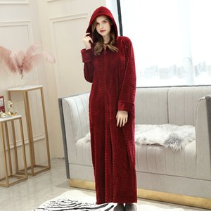 Accappatoio con cerniera autunno lampo accappatoio di velluto più aumentare camicia da notte uomo donna ispessimento pigiama flanella zip da notte