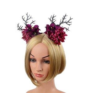 Parti Cosplay Noel için 1pc Saç Hoop Bez Dallar Simülasyon Kasımpatı Headdress Saç toka Hoop Şapkalar