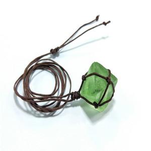Women Octahedral Faux Fluorite Stone Pendant Woven Rope Necklace Jewelry Gift Faux Fluorite Stone