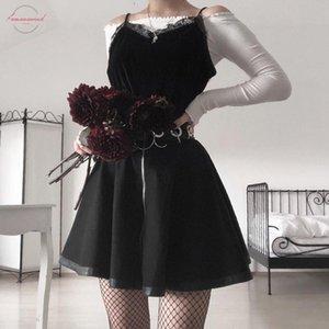Faldas Mujer Moda 2019 Summer Fashion Explosion Women Party Gothic Punk Black Zipper Hollow A Shaped Mini Skirt