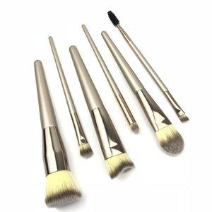 DHL-Makeup Brushes 6pcs Set Kits Maquiagem Ferramentas Sobrancelha Foundation Eyeshadow Brushes punho de madeira Champagne Cabelo Sintético Atacado