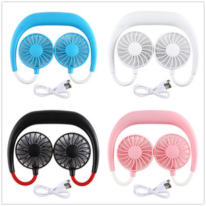 Neck Вентилятор USB Портативный Висячие Спорт Вентилятор носимых Ленивый шеи Hands Free Hanging Dual Cooling Fan Mini Sport 360 градусов Вращающийся 5color