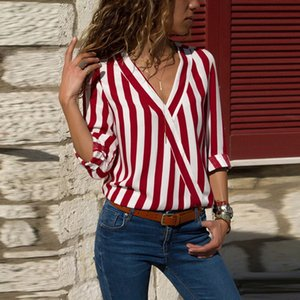 2019 New fashion women's European and American Fashion Autumn and Winter V-collar Stripe Loose Cross-shirt Long Sleeve T-shirt