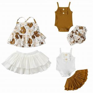 Newborn Girl 2pcs Clothing Sets 2020 Summer fashion braces Jumpsuits+Skirt Outfits Babies Clothes E21247
