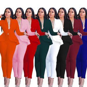 Mulheres definido Womens Inverno agasalho completo manga Ruffles Blazers Calças fato de duas peças de trabalho desgaste do negócio Set Lady Escritório uniforme