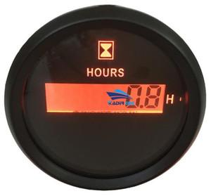 Confezione da 1 Retroilluminazione Rossa 52mm Digital Hour Meters 9-32VDC LCD Hourmeters Impermeabile Orologio Calibri Indicatori di tempo per Auto Boat