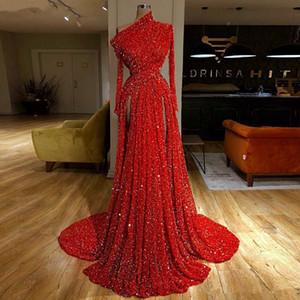 Rouge réfléchissant Paillettes partie longue robes de soirée 2020 New manches longues froncé haute fendus partie formelle Robes de bal Longueur étage 1431