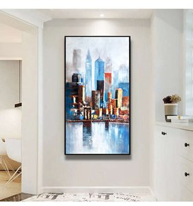 Living room entrance decoration corridor modern minimalist paintings Light luxury abstract mural Aisle city view hand-painted oil paintin