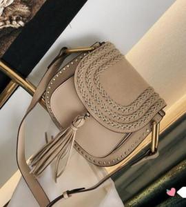 Clássico Woven Vintage Saddle Bag Mulheres Bolsas bolsas de camurça trançada couro Rivet Tassel sacos de ombro saco Crossbody Mensageiro