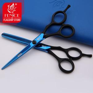 tesouras de cabelo profissional set azul preto punho barbeiro tesouras salão de beleza bolsa de pente tesoura kit 5.5inch 6.0inch cabeleireiro ferramentas