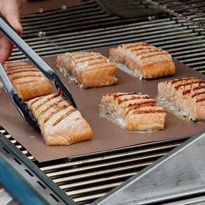 33 * 40CM غير لاصقة مقاومة للحرارة شواء مات النحاس خبز مات شوى الشواء ورقة المحمولة من السهل تنظيف الشواية أداة BBQ الوسادة